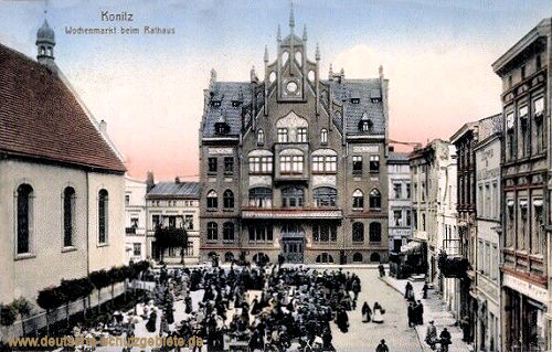 Konitz, Wochenmarkt beim Rathaus