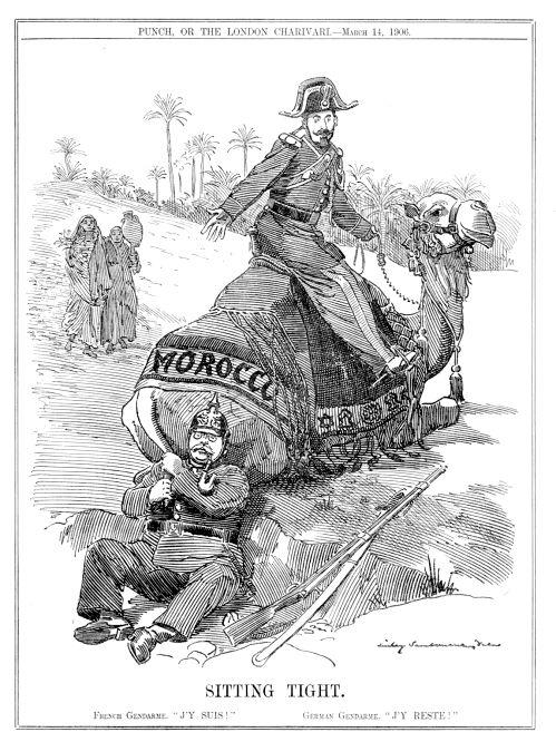"""Marokkokrise """"Sitting Tight"""" der """"Punch"""" macht sich darüber lustig, dass der Deutsche sich am Kamel Marokko festklammert, während der Franzose bereits fest im Sattel sitzt, 14. März 1906"""