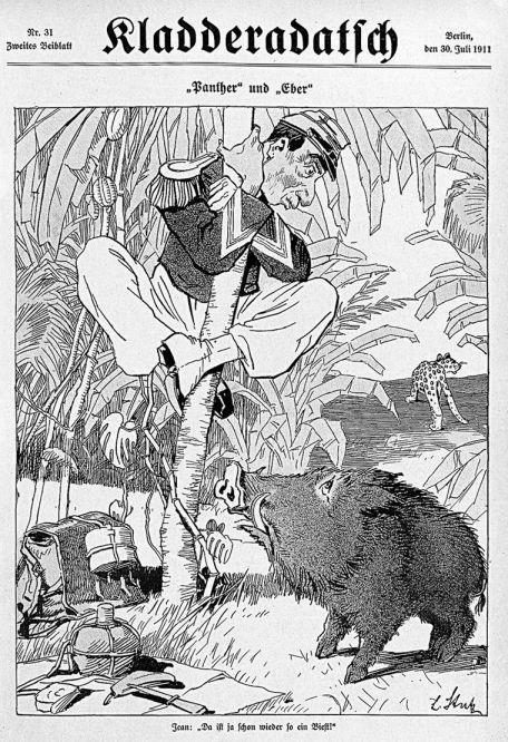 """Marokkokrise - Jean: """"Da ist ja schon wieder so ein Biest!"""" (Der Franzose erschreckt sich vor den deutschen Kanonenbooten """"Panther"""" und """"Eber"""" vor Marokko), Klasseradatsch vom 30. Juli 1911"""