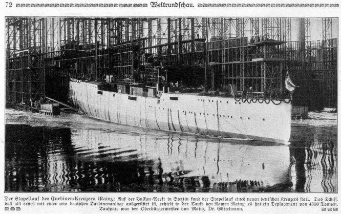 Der Stapellauf des Turbinen-Kreuzers Mainz auf der Vulkan-Werft in Stettin.