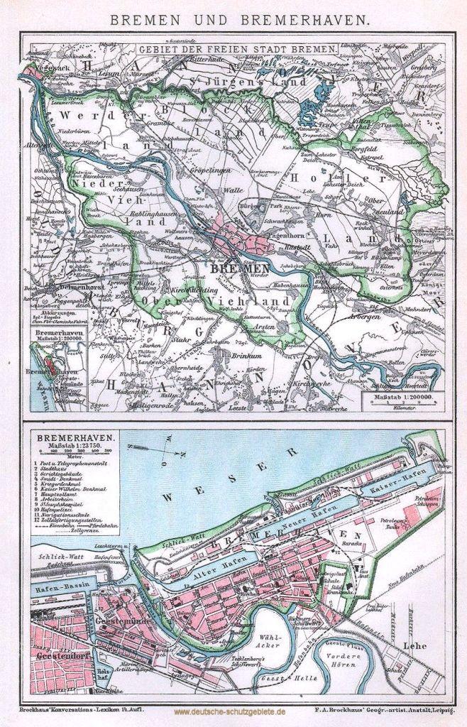 Bremen und Bremerhaven Stadtplan 1894 (Brockhaus'Konversations-Lexikon 14. Auflage)