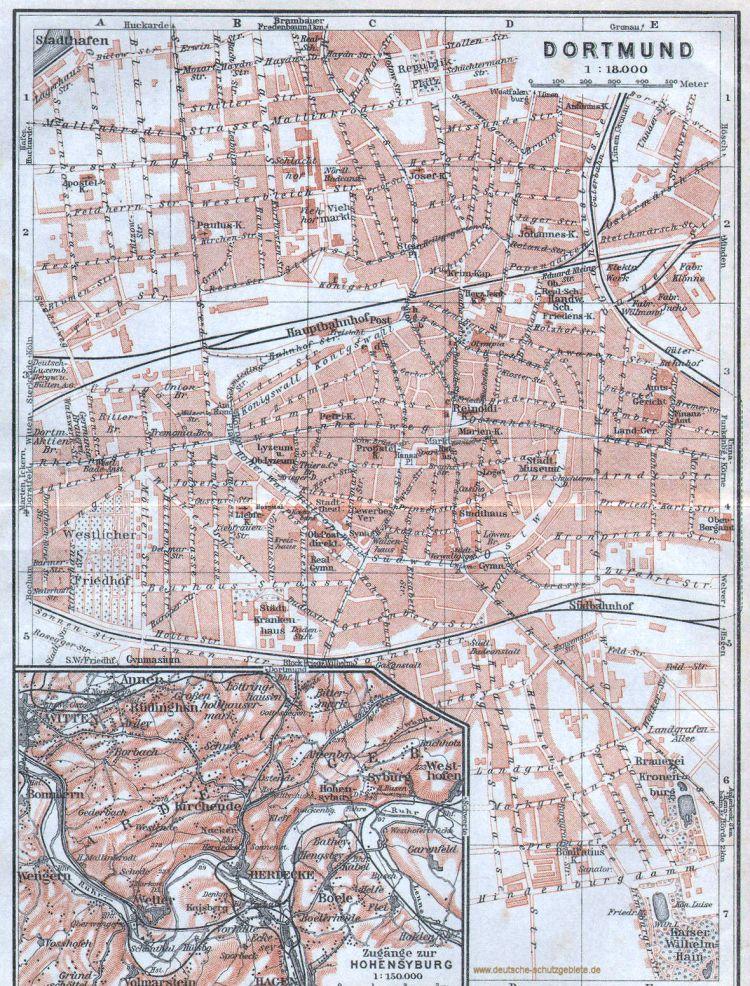 Dortmund Stadtplan 1900 und Zugänge zur Hohensyburg (Wagner & Debes Leipzig)
