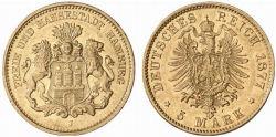 Hamburg 5 Mark 1877