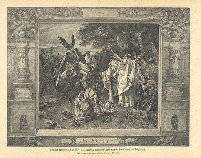Hermann der Cherusker übergibt den Silberschatz Galgenberge (Holzstich)