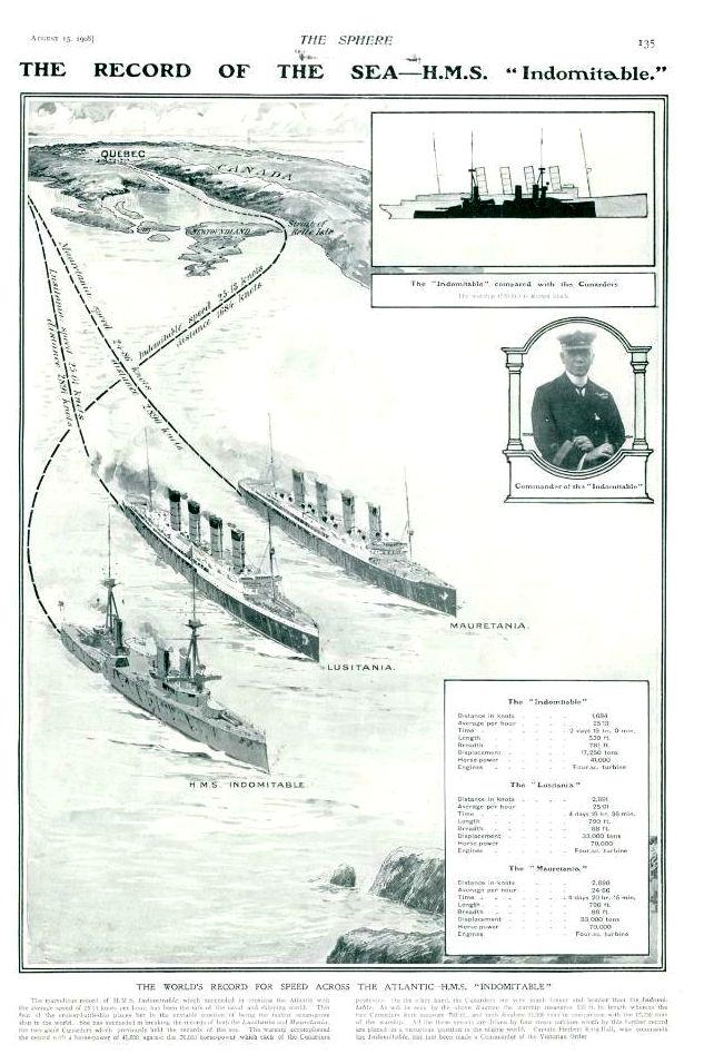 """THE RECORD OF THE SEA - H.M.S. Indomitable (THE SPHERE August 15. 1908) im Vergleich mit """"Lusitania"""" und """"Mauretania"""""""