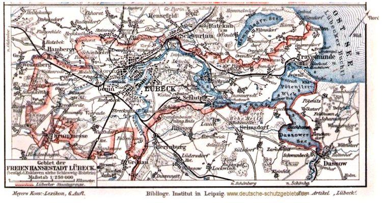 Gebiet der Freien Hansestadt Lübeck 1900 (Meyers Konversations-Lexikon 6. Auflage)
