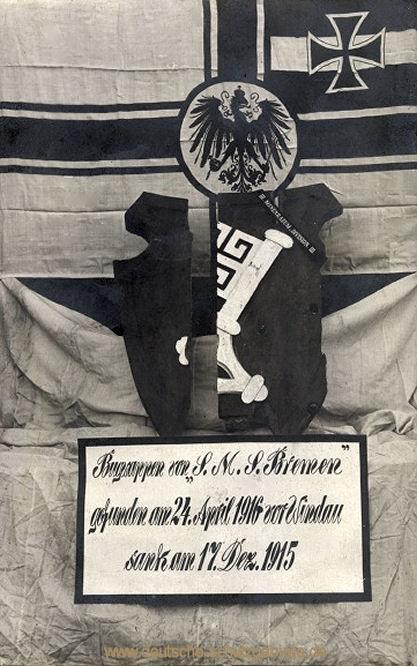 Bugwappen von S.M.S. Bremen gefunden am 24. April 1916 vor Windau sank am 17. Dez. 1915
