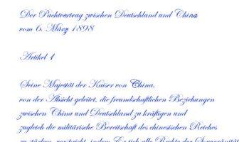 Pachtvertrag zwischen Deutschland und China vom 6. März 1898