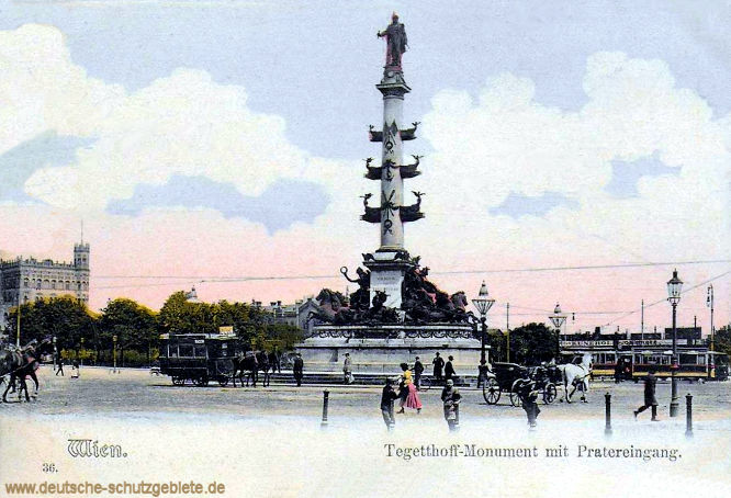 Wien. Tegetthoff-Monument mit Pratereingang.