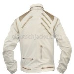 Beat It Michael Jackson White Real Leather Jacket.