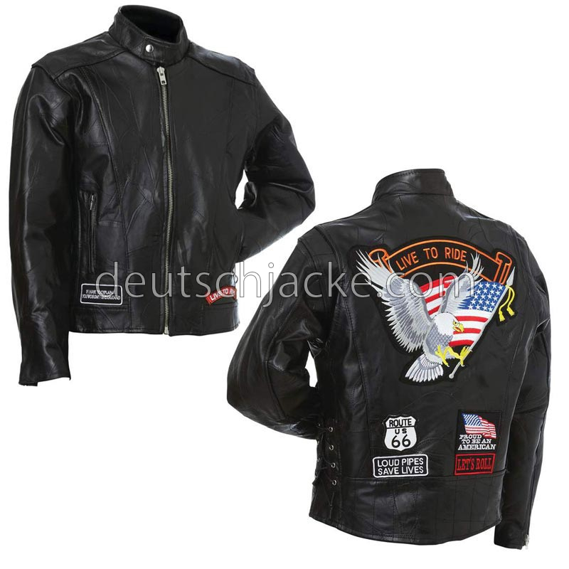 Diamond Plate Unisex Buffalo Leather Motorcycle Jacket1
