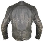 Grey Distressed Motorcycle Leather Jacket for Womens.