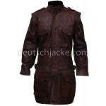 Men's Tall Brown Armor Leather Biker CoatFront