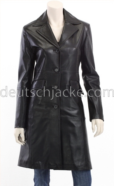 outlet on sale authentic 2019 best sell Petite Black Leather Trench Coat For Women's