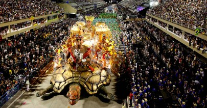 The Imperatriz Leopoldinense samba school parades during celebrations at the Sambadrome in Rio de Janeiro. (Felipe Dana/Associated Press)