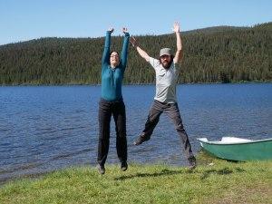 Deux évadés content de leurs équipements - Parc de la Gaspésie