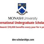100 Monash University International Undergraduate Excellence Scholarships in Australia