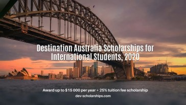 Destination Australia Scholarships for International Students, 2020