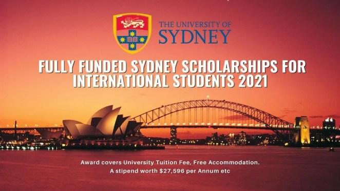 Fully Funded Sydney Scholarships for International Students 2021
