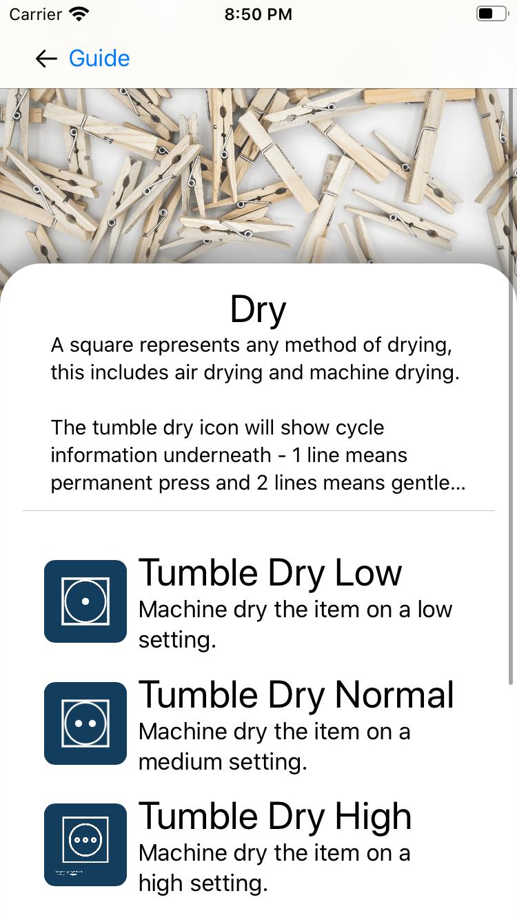 Screenshot of iOS app