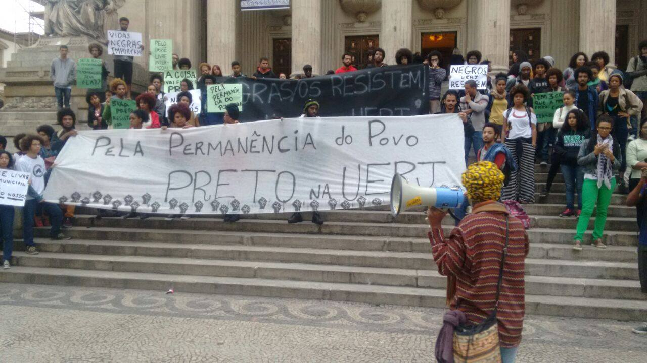 """Black students from colleges across Rio de Janeiro protest """"For the Permanence of Black People at UERJ"""" when scholarship funding was threatened at the University of the State of Rio de Janeiro (UERJ) in July 2016. (Photo from Ocupação Preta UFF)"""