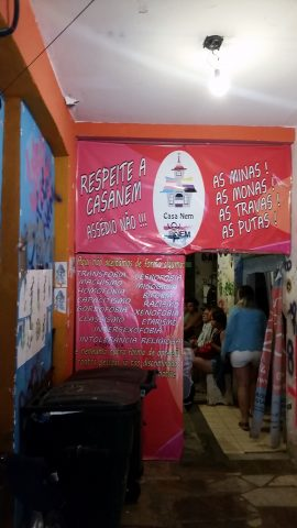 The entrance to Casa Nem, a center and shelter for transsexual, transvestite and transgender people in Rio de Janeiro.