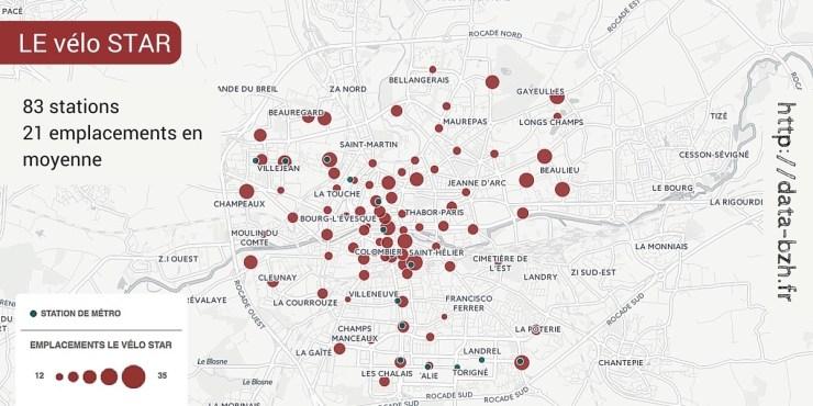 Rennes : les stations du vélo STAR et leur nombre d'emplacements