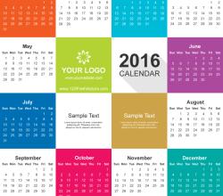 2016 Calendar Vector Free Download
