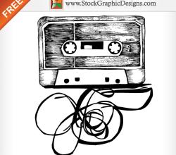 Hand Drawn Audio Cassette Free Vector
