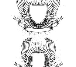 Vector Heraldry Wings Shield