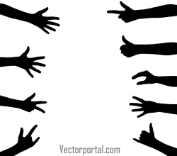 Hand Gesture Vector Silhouettes