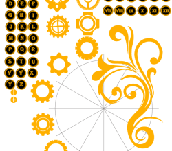 Vector Alphabet Letters and Numbers with Gear Wheel