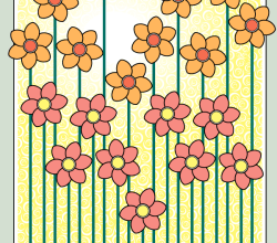 Flowers Blooming Background Vector Graphics