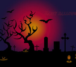 Halloween Cemetery Background with Tombs Vector Image