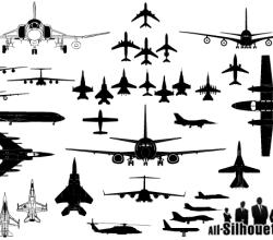 Vector Airplane Silhouettes Clip Art