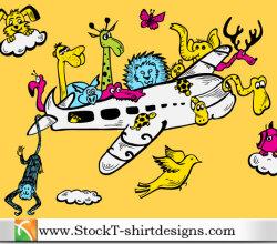 Cartoon Animals Riding Airplane With Free Vector Art Tshirt Design