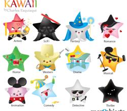 Free Kawaii Movie Genres Icons Vector