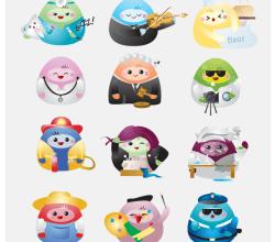 Free Kawaii Professions Icons Vector