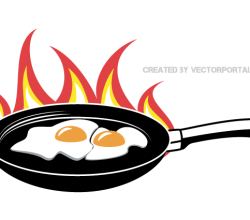 Fried Eggs on Frying Pan Vector