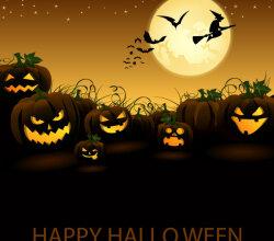 Jack O' Lantern Pumpkin in Halloween Night Vector Free