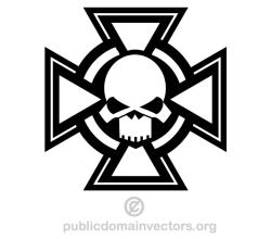 Skull with Cross Vector