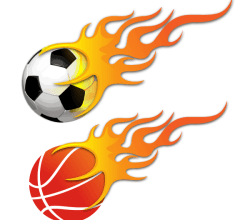 Vector Ball on Fire – Soccer Ball and Basketball