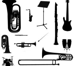 Vector Music Instruments Silhouette