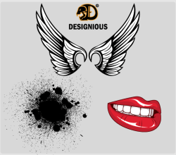 Vector Wings, Lips and Ink Splatter