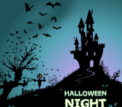 Happy Halloween Background with Haunted House and Bats Vector Free