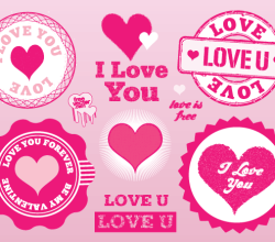 Pink Love Stamps Vector