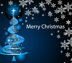 Merry Christmas Wallpaper with Sparkle Pine Tree and Snowflakes Vector