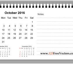 October 2016 Printable Calendar with Notes