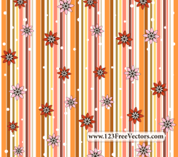 Retro Seamless Stripe Pattern with Flowers