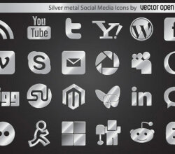 Silver Metal Social Media Vector Icons